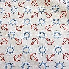 Stoff Meterware beschichtet weiß Anker Steuerrad rot blau Wachstuch Baumwolle Tischdecke