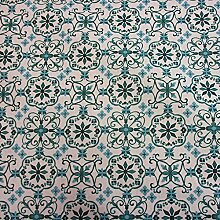 Stoff Meterware Tischdecke weiß petrol Ornament Cini Baumwolle beschichte