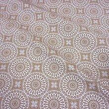 Stoff Meterware wasserdicht Mandala beige ecru beschichtet Wachstuch Baumwolle Tischdecke