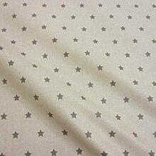 Stoff Meterware wasserdicht Sterne beige grau klein Wachstuch Tischdecke abwaschbar