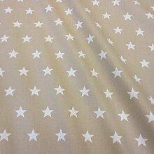 Stoff Meterware wasserdicht Sterne beige weiß Tischdecke Baumwolle beschichte