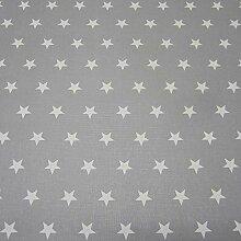 Stoff Meterware wasserdicht Sterne grau weiß