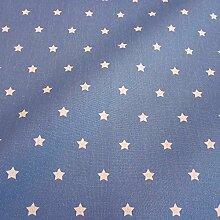 Stoff Meterware wasserdicht Sterne jeansblau blau weiß klein Wachstuch Tischdecke abwaschbar