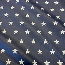 Stoff Meterware wasserdicht Sterne marine weiß Tischdecke Baumwolle beschichte