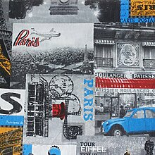 Stoff Möbel Muster Paris Tapisserie Tischdecke Sofa Kissen giosal 2,80m x 2,80m