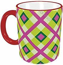 Stoff Ornament Nahtlose Tartan-Platz-Kaffeetasse