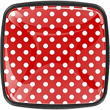 Stoff rot weiße Punkte 4 Stück Schubladenknöpfe