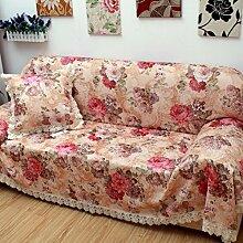 Stoff Spitze voll Sofa Set Slip Gartensofa Handtuch volle Deckung Sofabezug A 180x280cm(71x110inch)