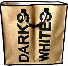 Stoff Wäschekorb beige mit Aufdruck DARKS & WHITES, tragbarer Wäschekorb mit 2 Fächern, Wäschesack ca. 52 x 24 x 54 cm