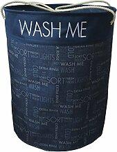 Stoff Wäschekorb blau mit Aufdruck WASH ME, tragbarer Wäschesack aus Polyester, runder Wäschesammler ca. 55 x 45 cm