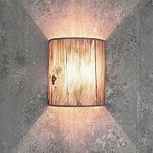 Stoff Wandlampe ALICE Holz Optik halbrund Loft