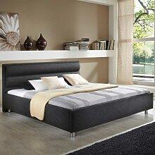 Stoffbett in Schwarz ohne Matratze