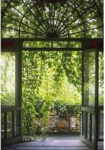 Stoffbild Alte grüne Gartentür Bloomsbury Market