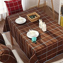 Stoffe/Fluidsysteme,Leinwand,Moderne,Einfache Tischdecke/Tee Tischdecke/England,Gitter,Rote Kaffee Farbe Tapete-B 140x180cm(55x71inch)