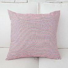 Stoffe mit roter Farbe Streifen vergitterte Auto Bett Sofa Kissen und lumbalen Kissen Treppen zurück, 50 x 50 cm, rote Streifen