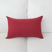 Stoffe mit roter Farbe Streifen vergitterte Auto Bett Sofa Kissen und lumbalen Kissen Treppen zurück, 50 x 50 cm, rote Farbe