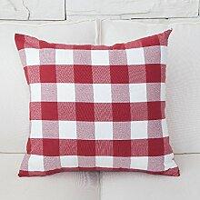 Stoffe mit roter Farbe Streifen vergitterte Auto Bett Sofa Kissen und lumbalen Kissen Treppen zurück, 50 x 50 cm, rot große Fächer