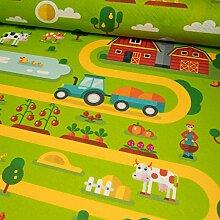 Stoffe Werning Filzteppich Bauernhof grün Spielteppich Kinderstoffe - Preis gilt für 0,5 Meter -