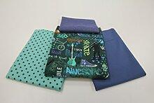"Stoffpaket / 4x 50cm / beste Jersey-Qualität / Jersey / Stoffpaket ""Cool Kids & Skater"" blau-blau Nr. 1"