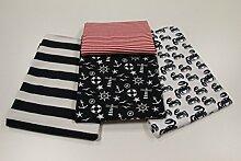"""Stoffpaket / 4x 50cm / beste Jersey-Qualität / Jersey / Stoffpaket """"Maritim & Krabbe"""" blau Nr. 5"""