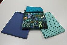 "Stoffpaket / 4x 50cm / beste Jersey-Qualität / Jersey / Stoffpaket ""Cool Kids & Skater"" blau-türkis Nr. 3"
