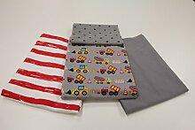"Stoffpaket / 4x 50cm / beste Jersey-Qualität / Jersey / Stoffpaket ""Bagger & Baustelle"" grau / rot Nr. 1"
