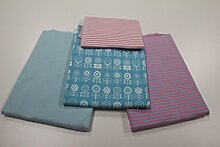 """Stoffpaket / 4x 50cm / beste Jersey-Qualität / Jersey / Stoffpaket """"Blumen"""" Tante Ema blau / rosa Nr.1"""