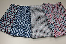 "Stoffpaket / 4x 50cmx140cm / beste Baumwoll-Qualität / Baumwolle / Stoffpaket Tante Ema ""Retro Muster"" türkis, viole"