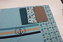 Stoffpaket / 4x Stoffzuschnitt mit Panel und Borte / beste Jersey-Qualität / Jersey / Stoffpaket Anker maritim türkis Nr. 1