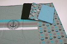 Stoffpaket / 4x Stoffzuschnitt mit Panel und Borte
