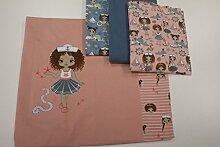 Stoffpaket / 4x Stoffzuschnitt mit Panel und Borte / beste Jersey-Qualität / Jersey / Stoffpaket Matrosenmädchen maritim rosa blau Nr. 3