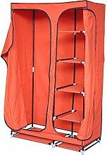Stoffschrank 4 Fächer Kleiderstange Garderobenschrank Faltschrank Campingschrank mobiler Kleiderschrank Garderobe orange