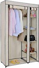 Stoffschrank, für Kleideraufbewahrung, Kleiderstange und 5 Regale cremefarben