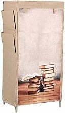 Stoffschrank Kleiderschrank Bücherschrank Motiv Bücher inkl. 2 Schubkästen