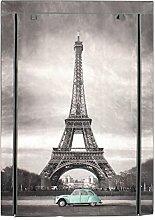 Stoffschrank Paris Kleiderschrank Motiv Eifelturm, 5 Fächer 1 Stange