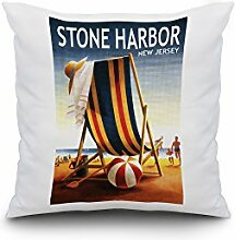 Stone Harbor, New Jersey - Beach Chair and Ball (18x18 Spun Polyester Pillow Case, White Border)