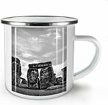 Stonehenge Foto Natur Weiß Emaille-Becher 10 oz | Wellcoda