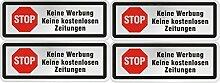 STOP Keine Werbung Keine kostenlosen Zeitungen Schilder Aufkleber (4erSet, STOP keine Werbung)