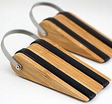 Stoppwerk Türkeil Bambus TK010 Türstopper 2er Set mit je 2 Band Abstandshalter 5,3x12,8x3cm, Türfeststeller