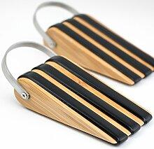 Stoppwerk Türkeil Bambus TK010 Türstopper 2er Set mit je 3 Band Abstandshalter 5,3x12,8x3cm, Türfeststeller