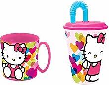 stor Hello Kitty. Fit-Becher Mikrowelle; und Glas.