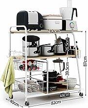 storage rack 3-Schicht-Boden Küche Aufbewahrungswagen Regale / Mikrowelle Regal / Topf Rack / Gemüsespeicherprodukte Cabinet shelf ( Farbe : 2# )