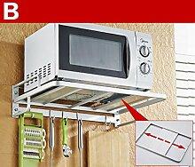 storage rack Küche Regal Mikrowelle Ofen Rack Ofen Doppelschicht Multifunktionsraum Aluminium Wandregal Regale Cabinet shelf ( Farbe : 2* )