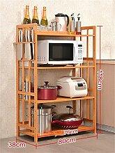 storage rack Küche Regal Mikrowellenherd Rack Multifunktions-Regal Landing Eintritt Massivholz Lagerung Rack Ofen Rack (vier Schichten) Cabinet shelf ( Farbe : #1 , größe : 80cm )
