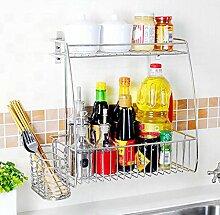 storage rack Küchenregal Wandhalterung / 304 Edelstahl Trimmen Regal Cabinet shelf ( Farbe : 2# )