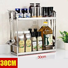 storage rack Neue Multifunktions-Doppelschicht-Mikrowellenherd Edelstahl-Rahmen-Gewebe-Rack-Regal mit Haken-Rahmen, um die Küche sauber zu halten Cabinet shelf ( Farbe : 1 )