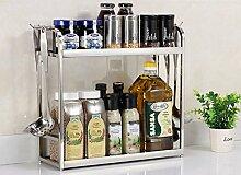 storage rack Neue Multifunktions-Edelstahl-Küche 2-Layer-Set Gewürz Regal Tissue Regal Mit Haken Rack Halten Küche sauber Cabinet shelf ( Farbe : 40 cm )
