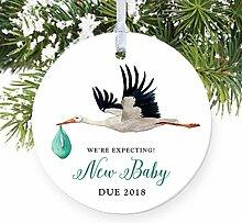Storch Schwangerschaft Ankündigung 2018erwarten Eltern rund Weihnachten Ornament Andenken Xmas Tree Dekoration Hochzeit Jahrestag Geschenk Weihnachtsbaum Geschenk Idee