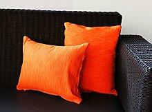 Store Indya, Satz von 2 Baumwolle Kissenbezüge Handgesponnene Ribbed orange Sofa Bett kopfkissenbezug Falle Zierkissenbezüge Bett Dekor
