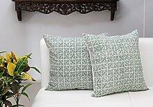 Store Indya, Satz von 2 Baumwolle Wurf Kissenhüllen Kissenbezügen fur Sofa Entwurf Zierkissenbezüge kopfkissenbezug (Block gedruckt grün)